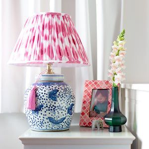 Pink ikat shade with ginger jar lamp base