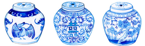 Blue and White Antique Ginger Jars