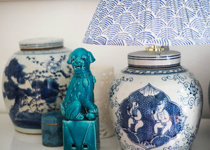 Woodblock lamp shade and ginger jar lamp