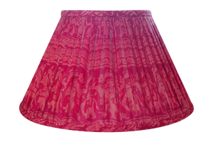 Pink silk sari lampshade with motif