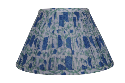 Periwinkle cotton gathered woodblock printed lamp shade