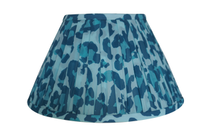 Blue leaopard gathered chiffon lamp shade