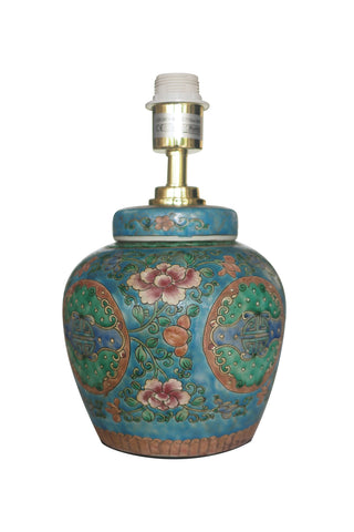 Blue Famille Rose Ginger Jar Table Lamp Base