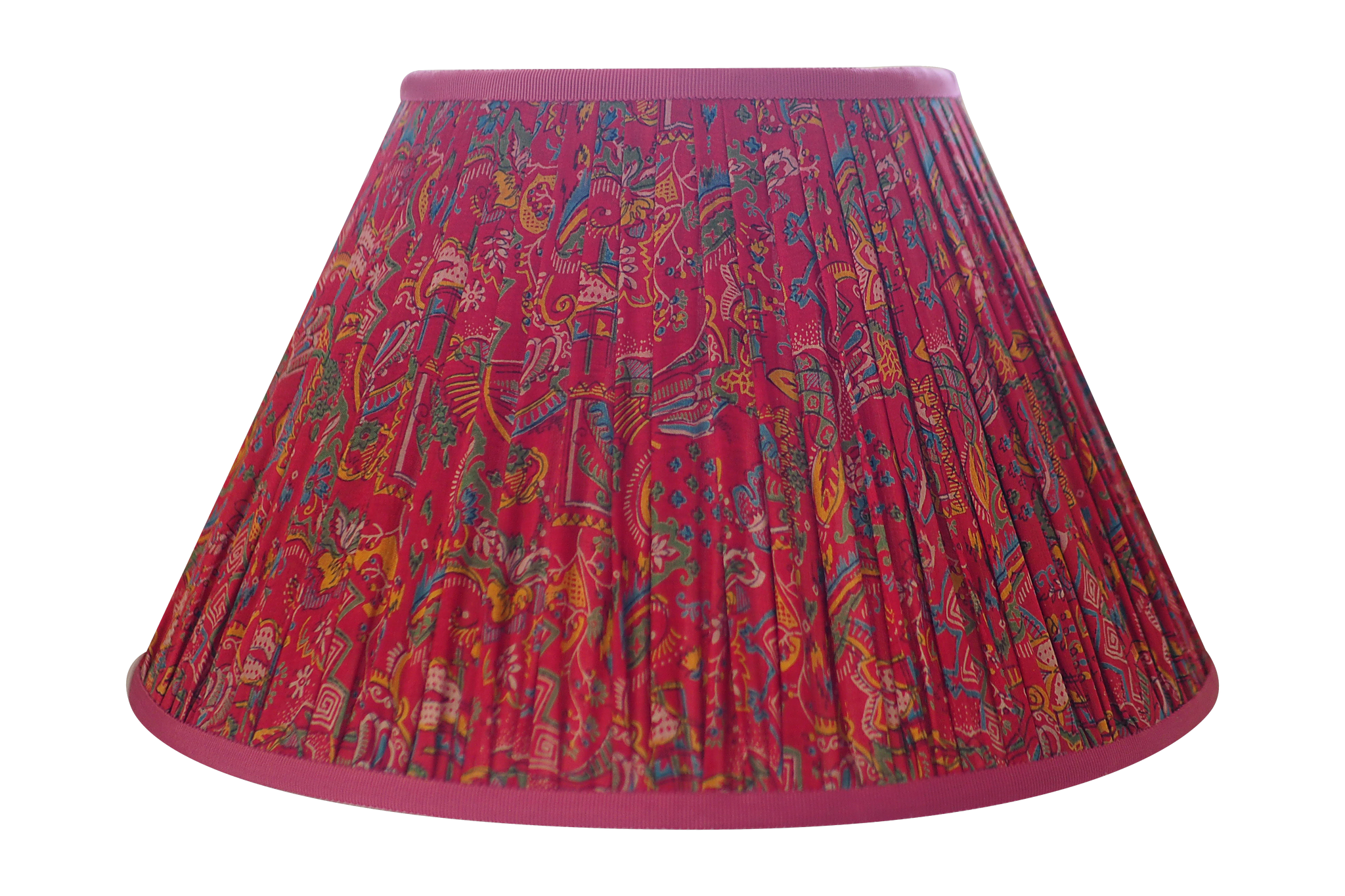 Red silk sari lamp shade