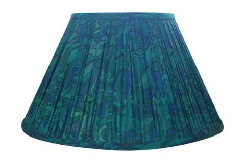 Blue and green silk sari lamp shade
