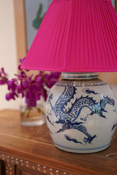 Magenta pink silk dupion shade with blue and white ceramic lamp base