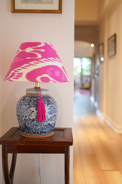 Evergreen peony ginger jar base and pink silk ikat shade