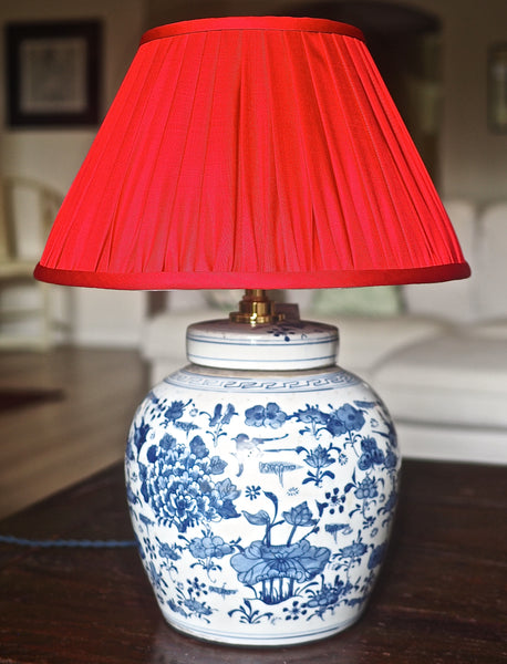Ruby Thai Silk Gathered Lamp Shade with magpie ginger jarbase