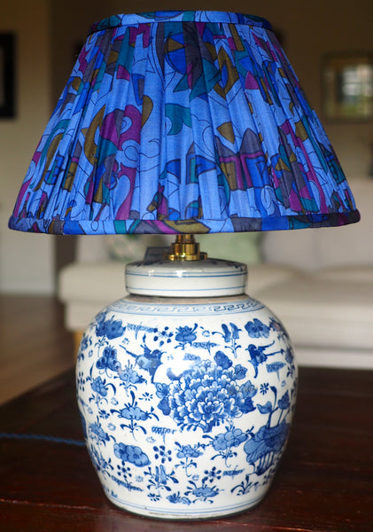 Rewa Silk Sari Lamp Shade with magpie vintage ginger jar lamp base