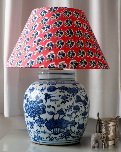 pink woodblock lamp shade