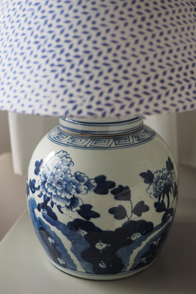 Peony ginger jar lamp base with white and blue woodblock shade