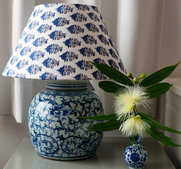 Vine and peony ginger jar base with white and blue woodblock shade