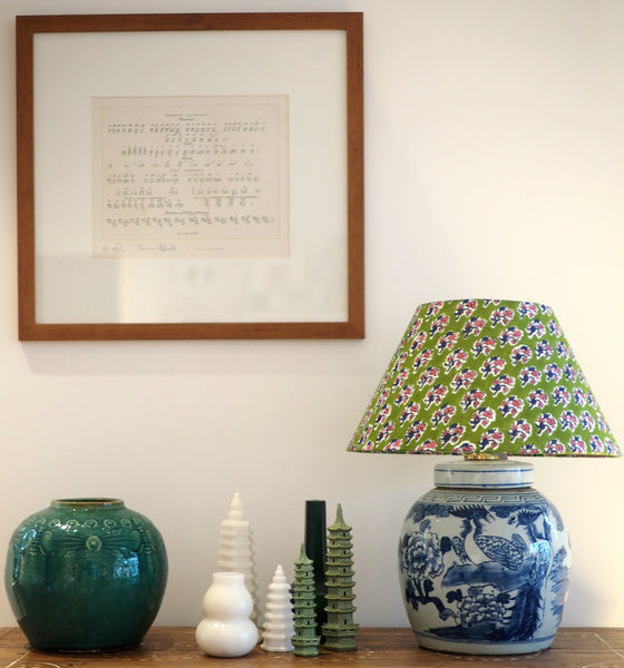 Green woodblock lamp shade