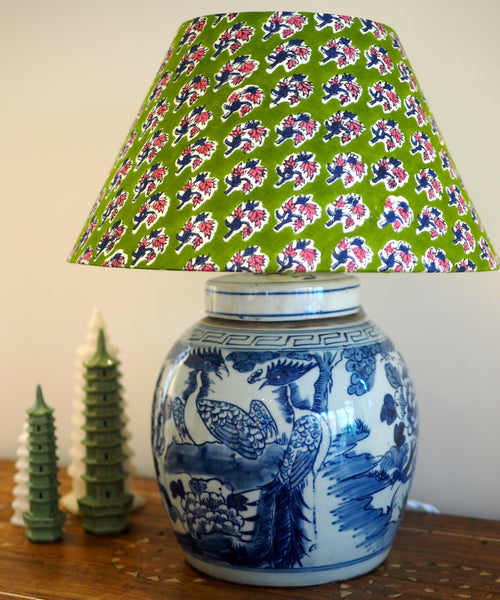 Phoenix ginger jar base with green woodblock shade