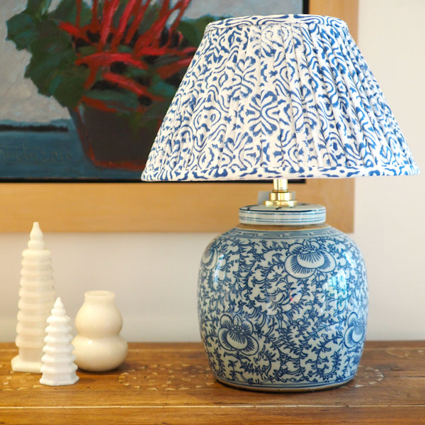 Blue floral woodblock cotton lamp shade with ginger jar lamp base