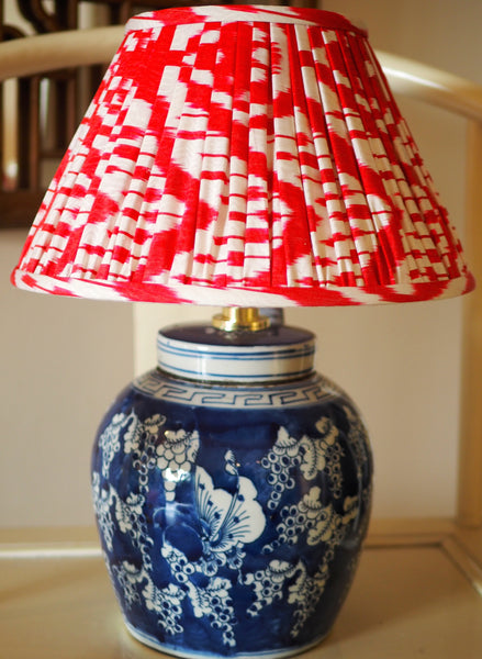 cherry red silk ikat lamp shade with ginger jar lamp base