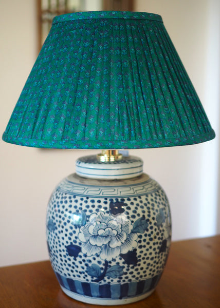 Peony and Polkadot Ginger Jar Table Lamp Base with silk sari lamp shade