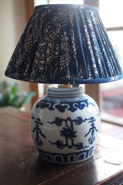 shou ginger jar base and indigo lamp shade