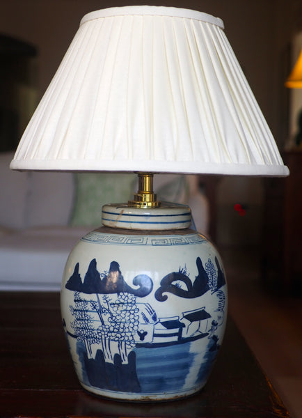 buttermilk linen shade with village ginger jar lamp base