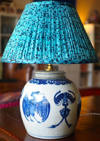 kulti vintage silk sari shade with cormorant ginger jar lamp base