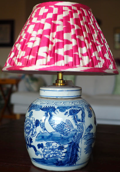 begonia silk ikat gathered shade with pheonix ginger jar lamp base