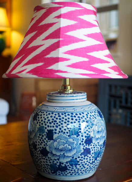 begonia silk ikat shade with peony polkadot ginger jar lamp base