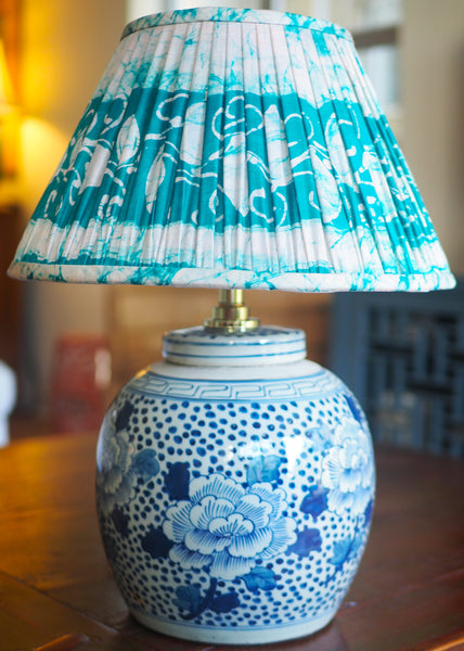 Gaya vintage silk sari shade with peony polkadot ginger jar lamp base