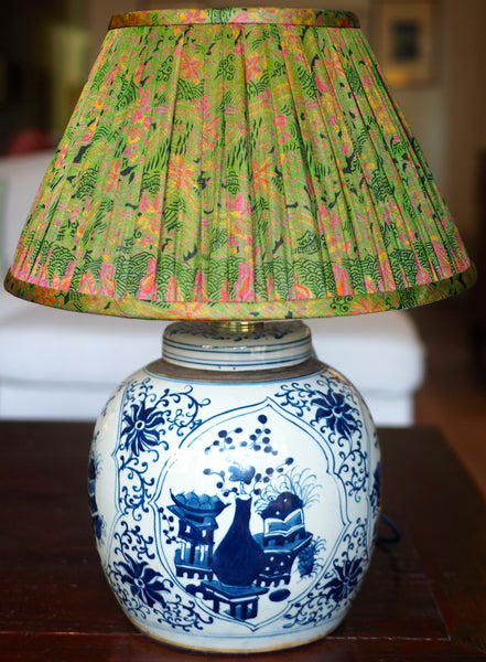 Thane vintage silk sari shade with buddha's rose and vase ginger jar lamp base
