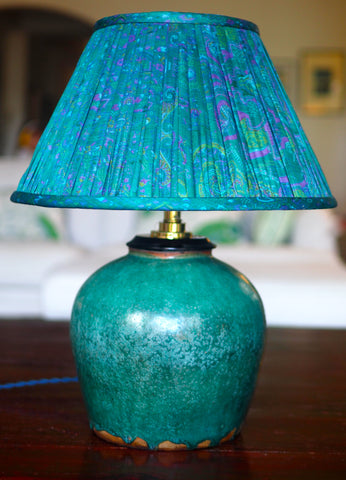 Hunan Jade Green Base & Chennai Silk Sari Lamp Shade
