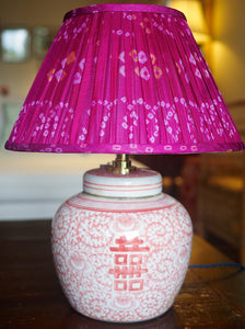 Coral double happiness ginger jar lamp and Alwar silk sari shade