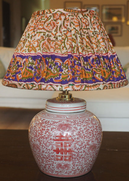 Ellenabad Silk Sari Lamp Shade witn coral double happiness lamp base