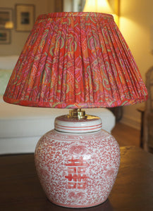 Coral Double Happiness Base & Gumia Silk Sari Lamp Shade