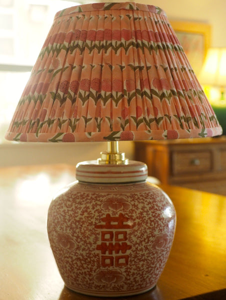 Dahlia Block-Print Cotton Gathered Lamp Shade with coral double happiness base