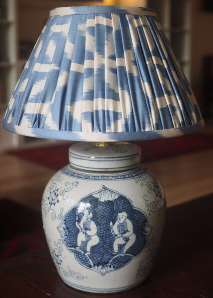 Cerulean Silk Ikat Lamp Shade