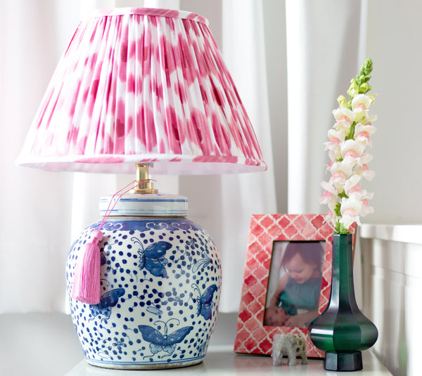 light pink cotton ikat lamp shade with ginger jar lamp base