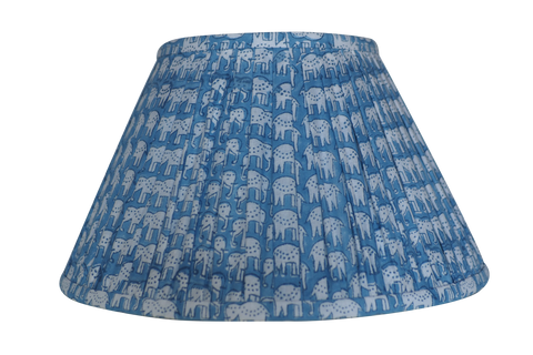 Powder Blue Elephant Block-Print Cotton Gathered Lamp Shade