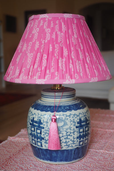 Rampur Cotton Sari Lamp Shade with Double Happiness Lamp Base