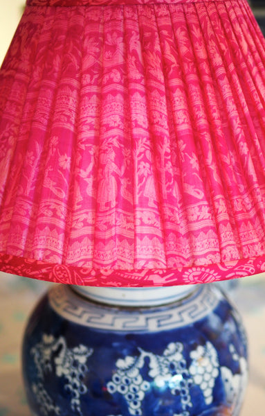 Pink sari shade with motif with ginger jar lamp base