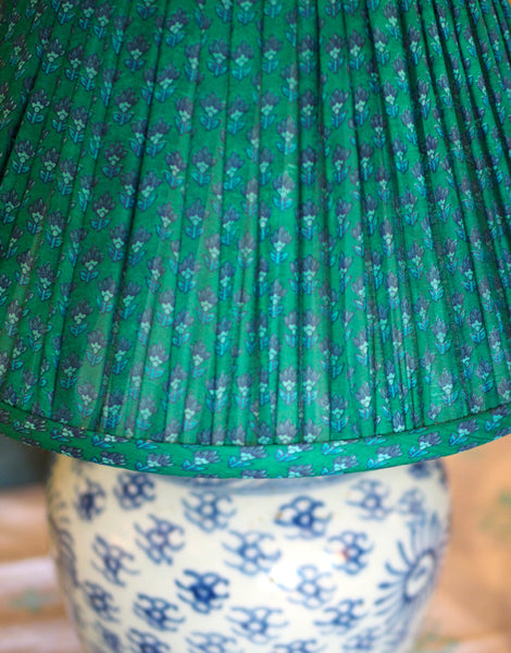 Sun ginger jar lamp base with green silk sari shade