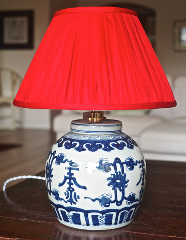 Shou Base & Ruby Thai Silk Lamp Shade