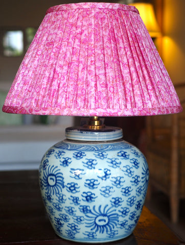 Sun ginger jar lamp base and pink silk sari Ajmer shade