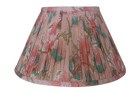 Anemone Block-Print Cotton Gathered Lamp Shade