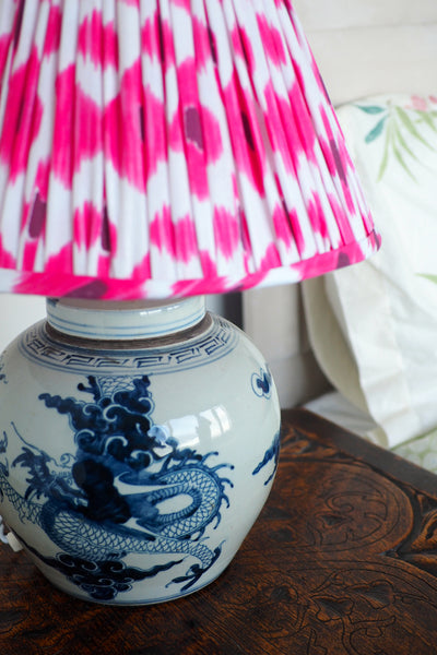 Pink and red cotton ikat lamp shade