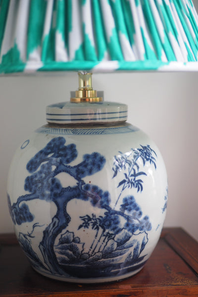 Emerlad ikat shade with Bamboo ginger jar base