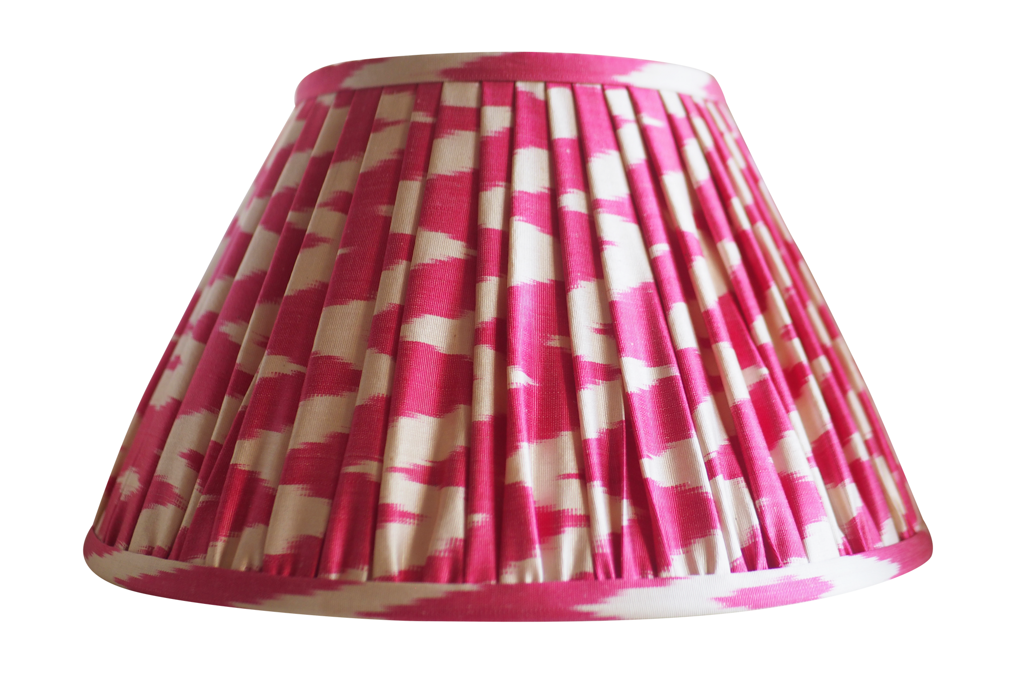 begonia pink chevron pleated gathered silk ikat lamp shade