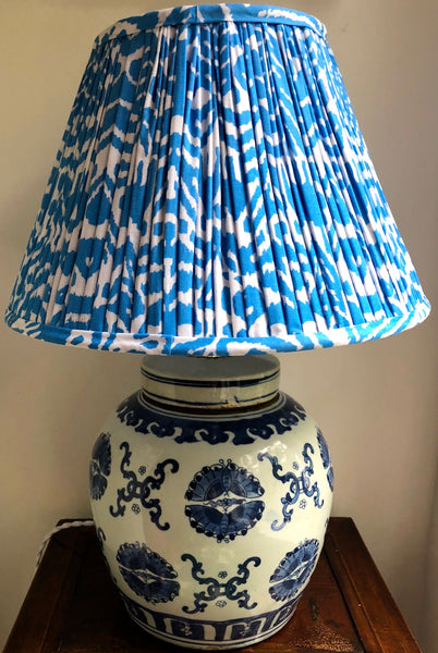 Butterfly pairs ginger jar base with turquoise ikat lamp shade