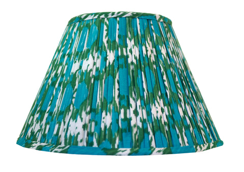 Green and Blue Cotton Ikat Gathered Lamp Shade