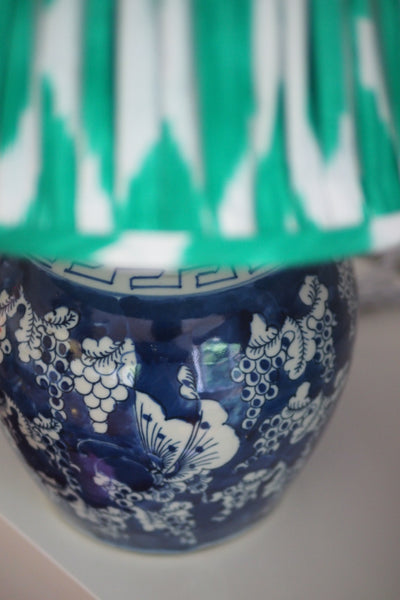 Butterfly ginger jar base with green ikat lap shade