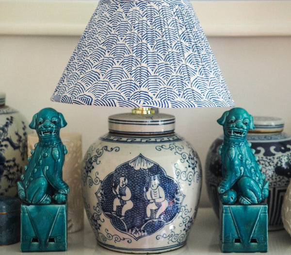 Cherubs ginger jar base with woodblock indigo wave shade