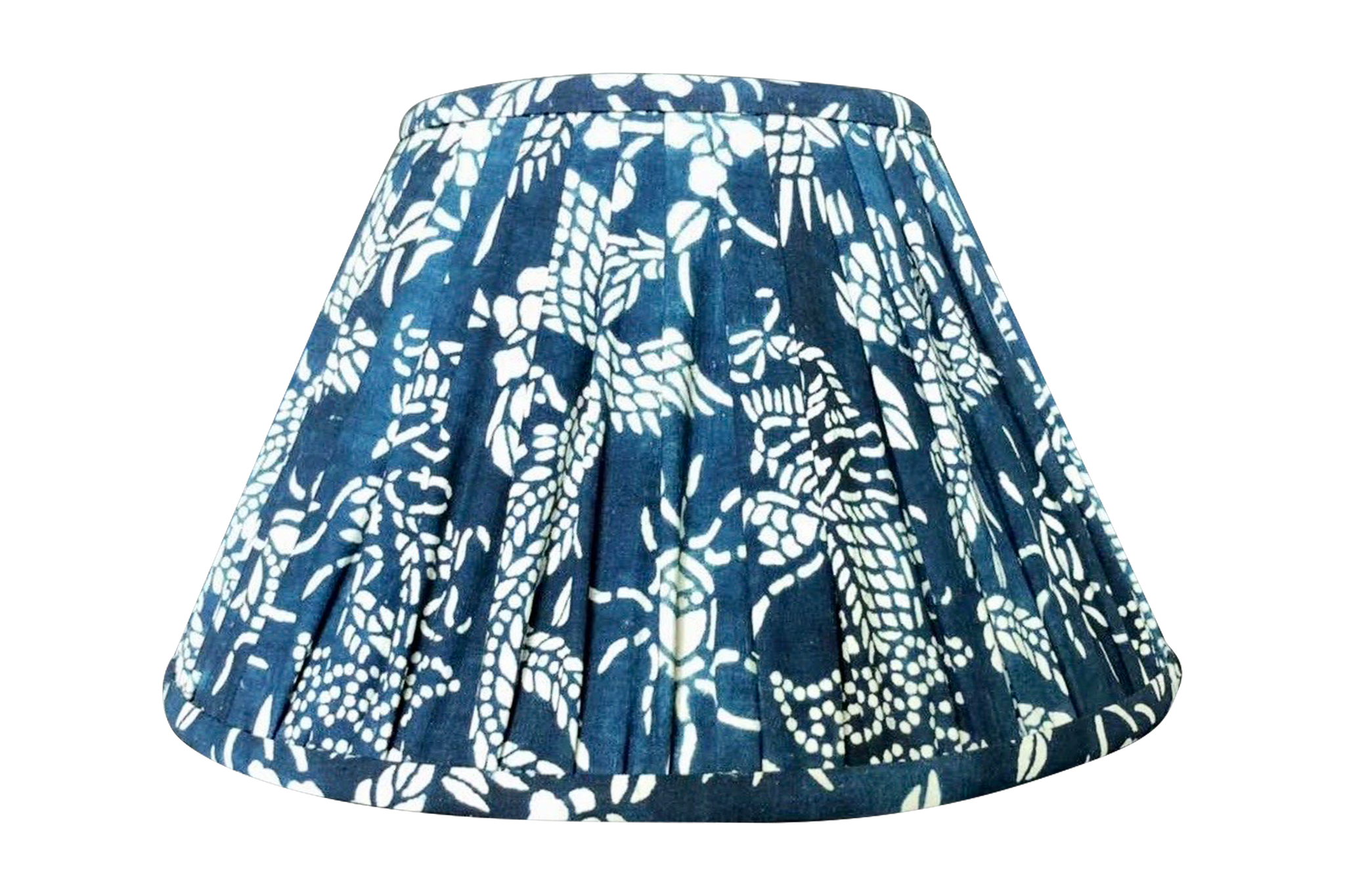 Chinese Indigo Cotton Gathered Lamp Shade
